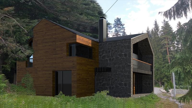 Projekt rekreačnej chaty, Olešná - Čadca